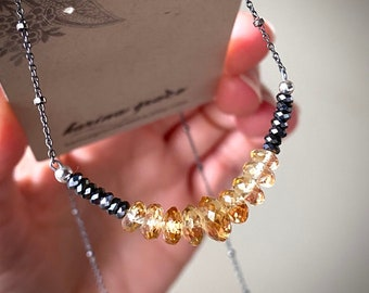 Citrine Beaded Necklace, Faceted Citrine and Hematite Pendant, Gemstone Rondelle Bib Necklace, Boho Luxe Jewelry