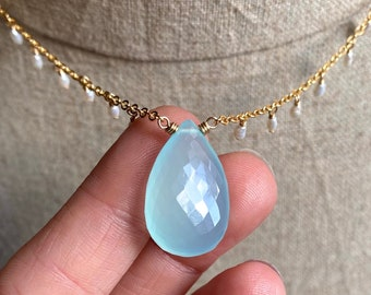 Chalcedony and Fresh Water Pearl Necklace, Gemstone Fringe Pendant, Microfaceted Chalcedony Teardrop Necklace, Dainty Jewelry