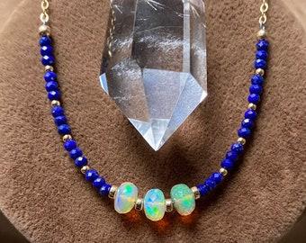 Ethiopian Opal and Lapis Lazuli Beaded Necklace, Faceted Opal and Lapis Lazuli Necklace, Gemstone Rondelle Necklace, Boho Jewelry