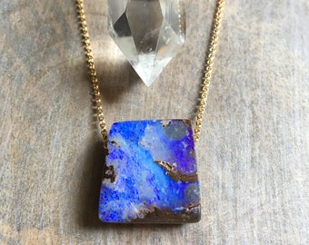 Boulder Opal Necklace, Opal Necklace, Koroit Opal Necklace, Australian Opal, Opal Silver Necklace, Opal Gold Necklace, Pendant, Karina Grace
