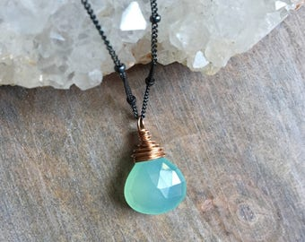 Aqua Chalcedony Necklace, Blue Chalcedony Gemstone Pendant, Rose Gold Fill Jewelry, Mixed Metal Jewelry, Minimal Jewelry, Under 50