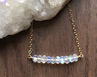 Rainbow Moonstone Bar Necklace, Beaded Bar Pendant, Gemstone Row Necklace, Minimal Jewelry, Rainbow Moonstone Jewelry, Gift for Her