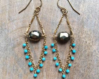 Pyrite and Turquoise Chandelier Earrings, Pyrite Dangle Earrings, Turquoise Fringe Earrings, Gold Gemstone Earrings, Boho Luxe