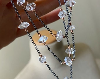 PRE-ORDER - Herkimer Diamond Necklace, Quartz Jewelry, Rose Gold Fill and Sterling Silver Mixed Metal Jewelry, Simple Jewelry