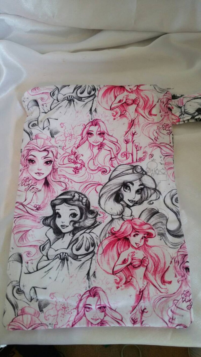 Disney princess pencil drawing wet bag fits 2 3 diapers 1 2 swimsuits or a stanky gym outfit