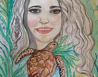 YOU As GODDESS, Goddess Emergence watercolor painting, self love, self portrait , energy healing, sacred soul painting, journey art,