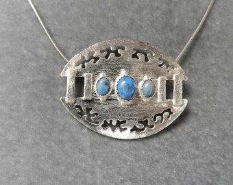 Fine Silver Versatile Oval Pendant with Denim Lapis