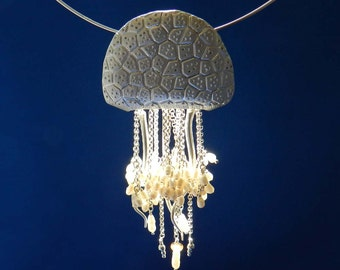 New! Jellyfish in Fine Silver with Freshwater Pearls