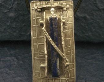 Fine Silver Pendant with Lapis Lazuli