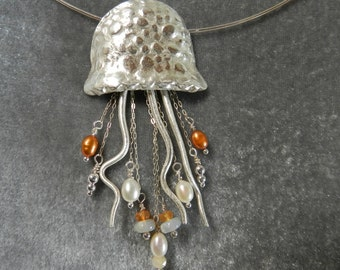 Fine Silver Jelly Fish with Pearls and Opal