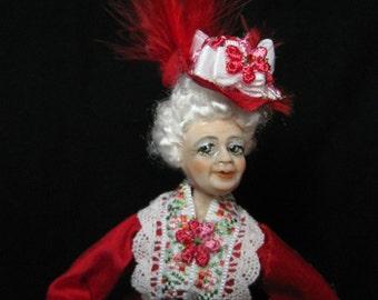 Miss Amelia, a miniature 1/12 scale porcelain. elderly Victorian  doll house doll OOAK by Kay Brooke