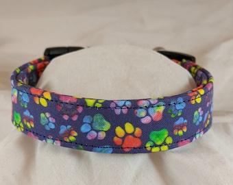 Rainbow paws pet, dog or cat collar.