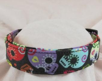 Colorful Dia de Muertos dog collar - Sugar Skull Fabric Dog Collar