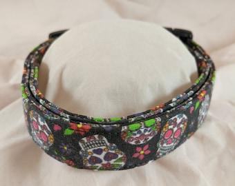 Dia de Muertos dog collar - Sugar Skull Fabric Dog Collar