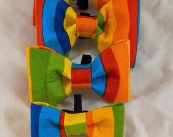 Rainbow bow tie pet collar accessories