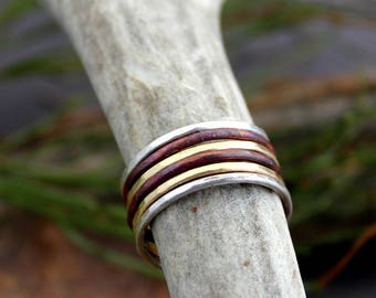 Skinny Stacking Rings/Mixed Metal Stacking Rings/ Silver, Copper, Gold Band Rings/Stacking Ring Set/Simple band Stacking Rings