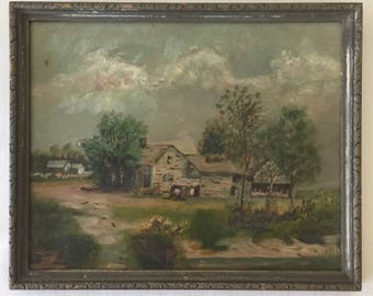 Antique Oil Painting on Glass