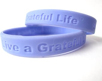 Silicone Rubber Wristband  Live a Grateful Life Christmas Message Bracelet Purple Periwinkle Mothers Day Gift