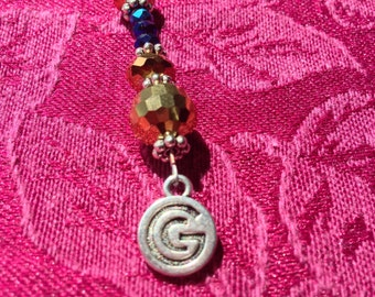 Cell Phone Charm Prayer Beads Gold Blue Sparkle Bling Thankful Grateful Accessory Journal Bookmark Keychain Purse