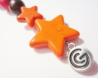 Orange Prayer Beads Under 20 Stone Star Wood Earthy Satchel Backpack Purse Charm Key Fob For Him Her Mom Dad Men