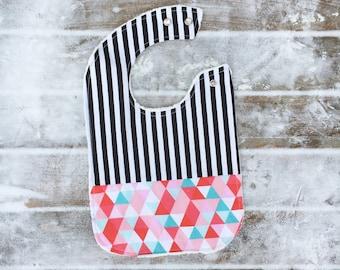 Black and White Stripes Bib ~ Double Snap Bib ~ Baby Bib