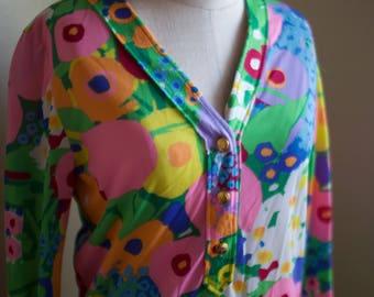 Vintage Floral 1970s Shirt Dress