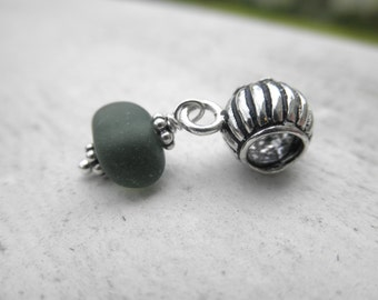 Deep Hunter Green Lake Erie Beach Glass Charm Bead