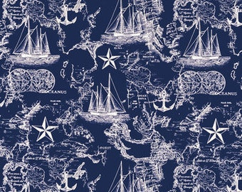 Metre Fat Quarters Childrens Nautical Beach Huts Anchors Life Rings Ship Fabric