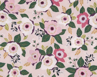 Rose apparel fabric, rose fabric, rose floral fabric,   fat quarter, 1/2  yard. or by the  yard Cotton  quilting apparel fabric