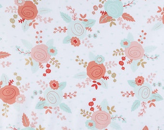 Piper Floral  Fabric mint peach  gold fat quarter, 1/2  yard. or by the  yard Cotton  quilting apparel fabric