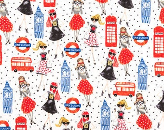 London Girl apparel   fabric  Fabric  fat quarter, 1/2yard. or by the  yard Cotton  quilting apparel fabric