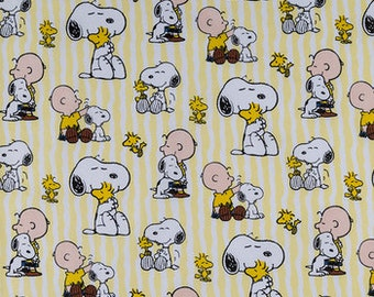 Snoopy yellow white cotton Calico fabric fabric  quilting apparel cotton  Fat Quarter, 1/2 yard or by the yard fabric  cotton fabric