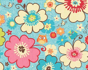 "BLue Floral fabric ""Happy Flappers""  fabric   Riley Blake  fabric  fat quarter 1/2 yard or yard  quilting apparel fabric"