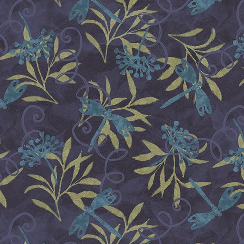Jasmine fabric Floral Vine fabric Springs Creative, floral fabric Susan Winget dragonfly fabric Floral fabric Jasmine Dragonfly