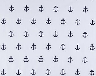 Anchors fabric, Navy anchors on WHITE,   fabric   fat quarter, 1/2yard. or by the  yard Cotton  quilting apparel fabric