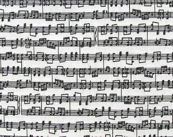 Musical Notes on white  cotton Fabric fat quarter, 1/2yard. or by the  yard Cotton  quilting apparel fabric