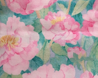 Watercolor Peony   apparel fabric,  fat quarter, 1/2  yard. or by the  yard Cotton  quilting apparel fabric