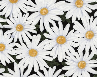 Daisy fabric, flower fabric, Timeless Treasures fabric, floral fabric,  white daisy, 100% cotton fabric,