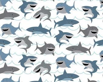 FLANNEL fabric, Shark fabric, Shark Flannel,   Riley Blake fabric,  Fat Quarter, 1/2 yard or  yard