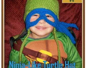 Ninja-Like Turtle Hat Crochet Pattern PDF - INSTANT DOWNLOAD. 3d45df1ced0