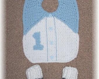 Newborn Crochet Bib Set ~ Mommy's Little Man