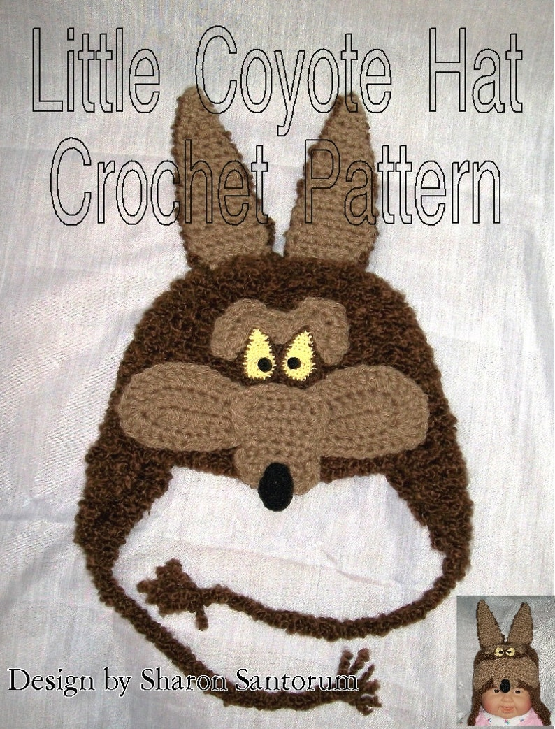 Little Coyote Hat Crochet Pattern PDF INSTANT DOWNLOAD.  955cf9b3529