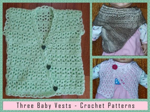 Three Baby Vests Crochet Patterns Pdf Instant Download Etsy