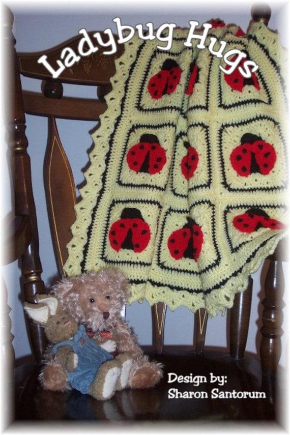 Lady Bug Hugs Crochet Baby Afghan Or Blanket Pattern Pdf Etsy
