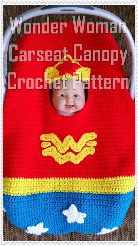 Wonder Woman Car Seat Canopy Crochet Pattern Instant Download