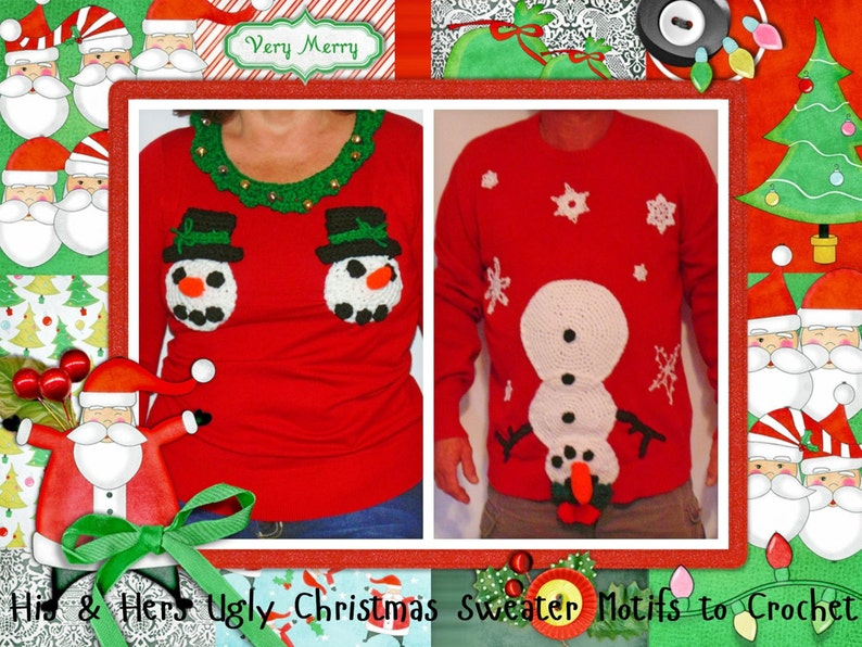 4f28454c0 His and Her Ugly Christmas Sweater Motifs INSTANT DOWNLOAD