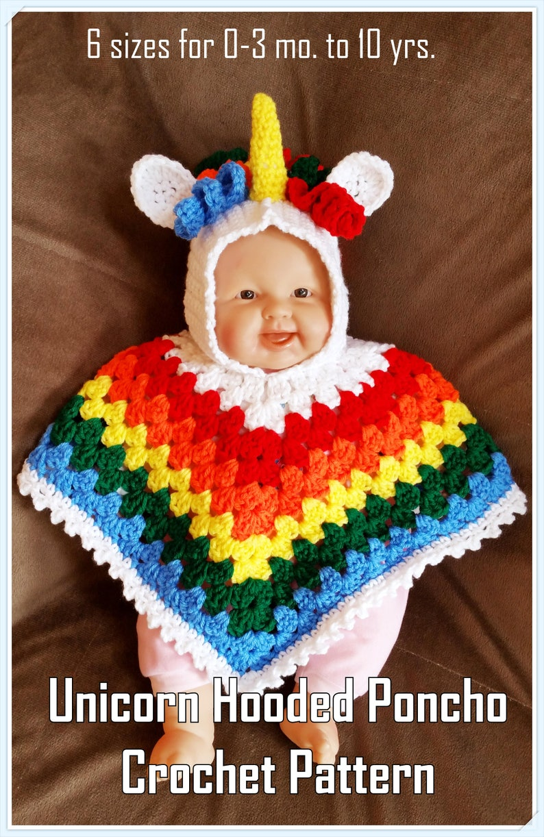Hooded Baby – Toddler Unicorn Poncho Crochet Pattern PDF - INSTANT DOWNLOAD