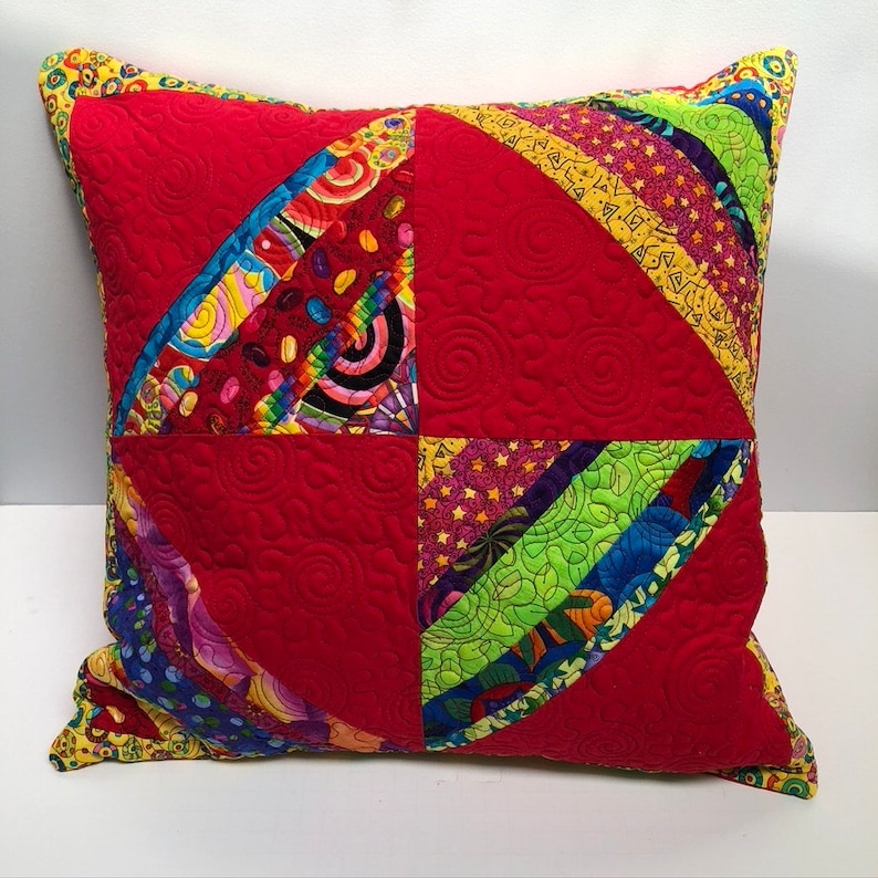 Red Stripe Patchwork Quilted Pillow
