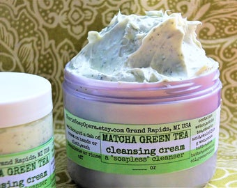 """Matcha Green Tea Facial Cleanser- Soapless Alternative-Great for """"Problem Skin""""- or Fresh Carrot Cleansing Cream"""