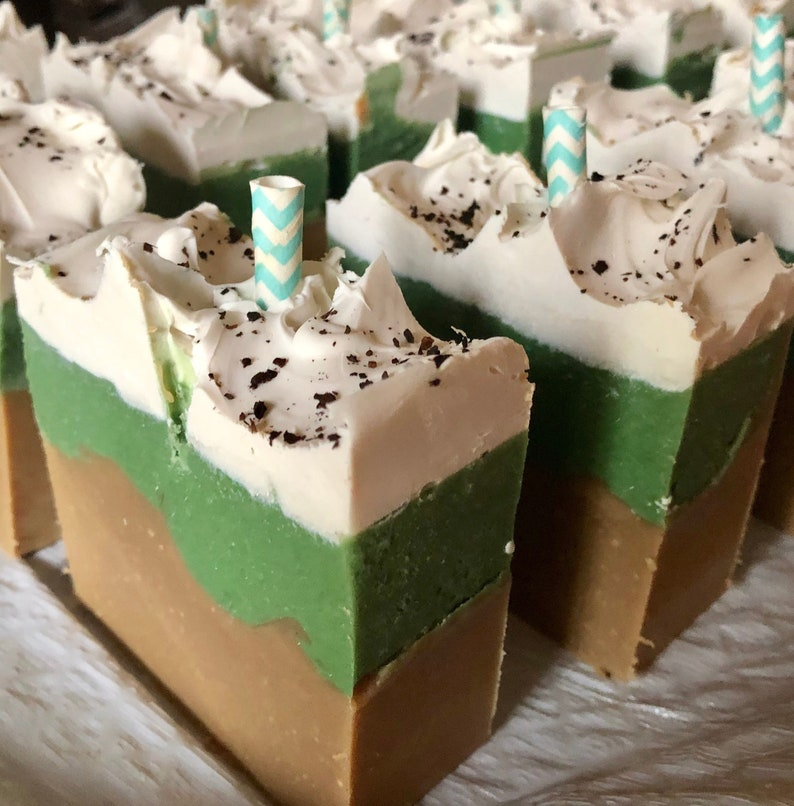 Peppermint Mocha Frappe Soap Large Bar-Made FRESH Great for image 0